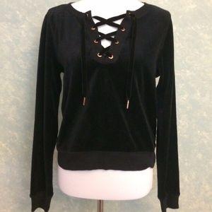 Betsey Johnson Small Black Lace up Sweatshirt